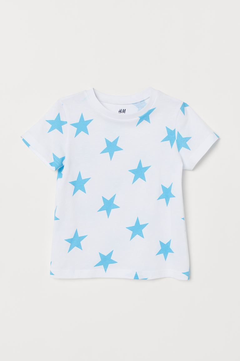 Cotton T-shirt - White/Stars - Kids | H&M IE