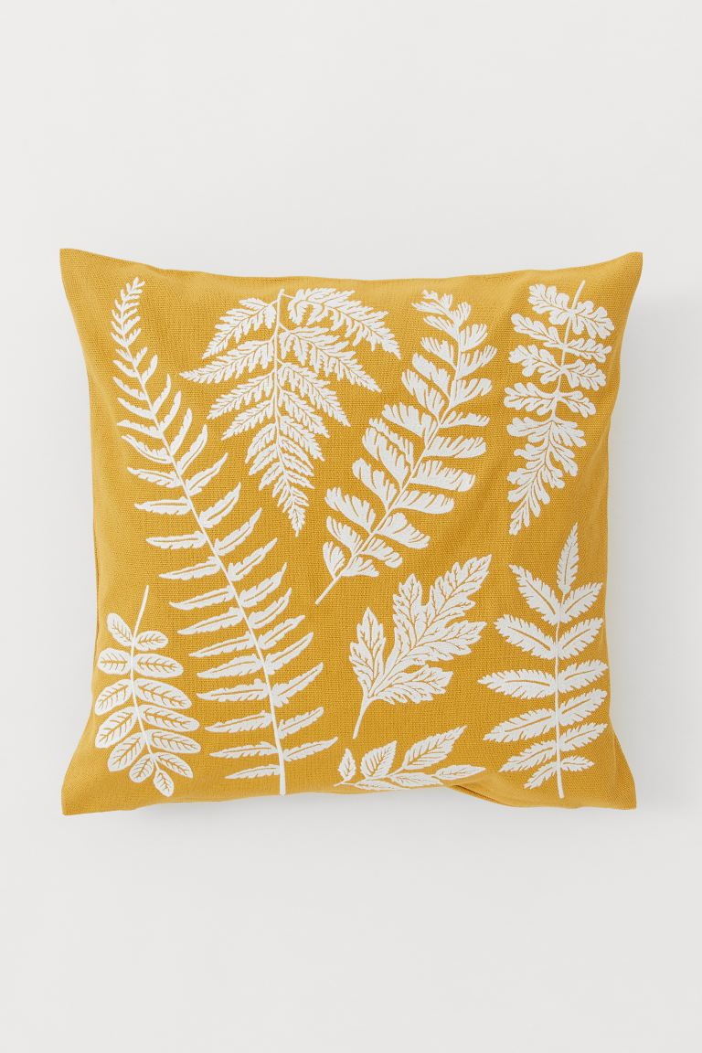 Embroidered cushion cover - Dark yellow - Home All | H&M GB