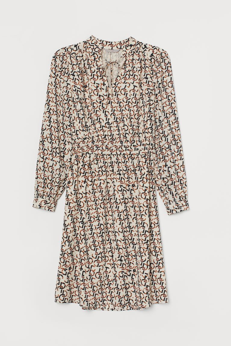 Dress with ties - Light beige/Patterned - Ladies | H&M