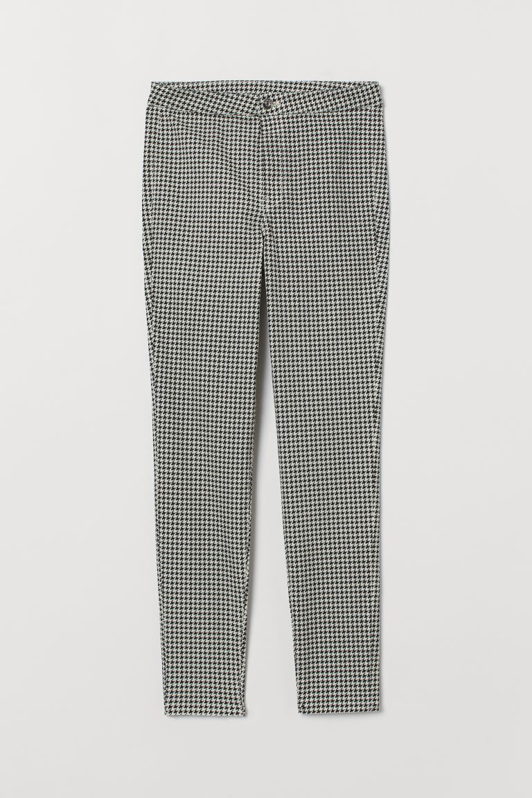 High Waist Twill Pants - White/houndstooth-patterned - Ladies | H&M US
