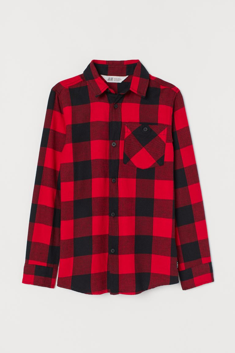 Flannel shirt - Red/Black checked - Kids | H&M
