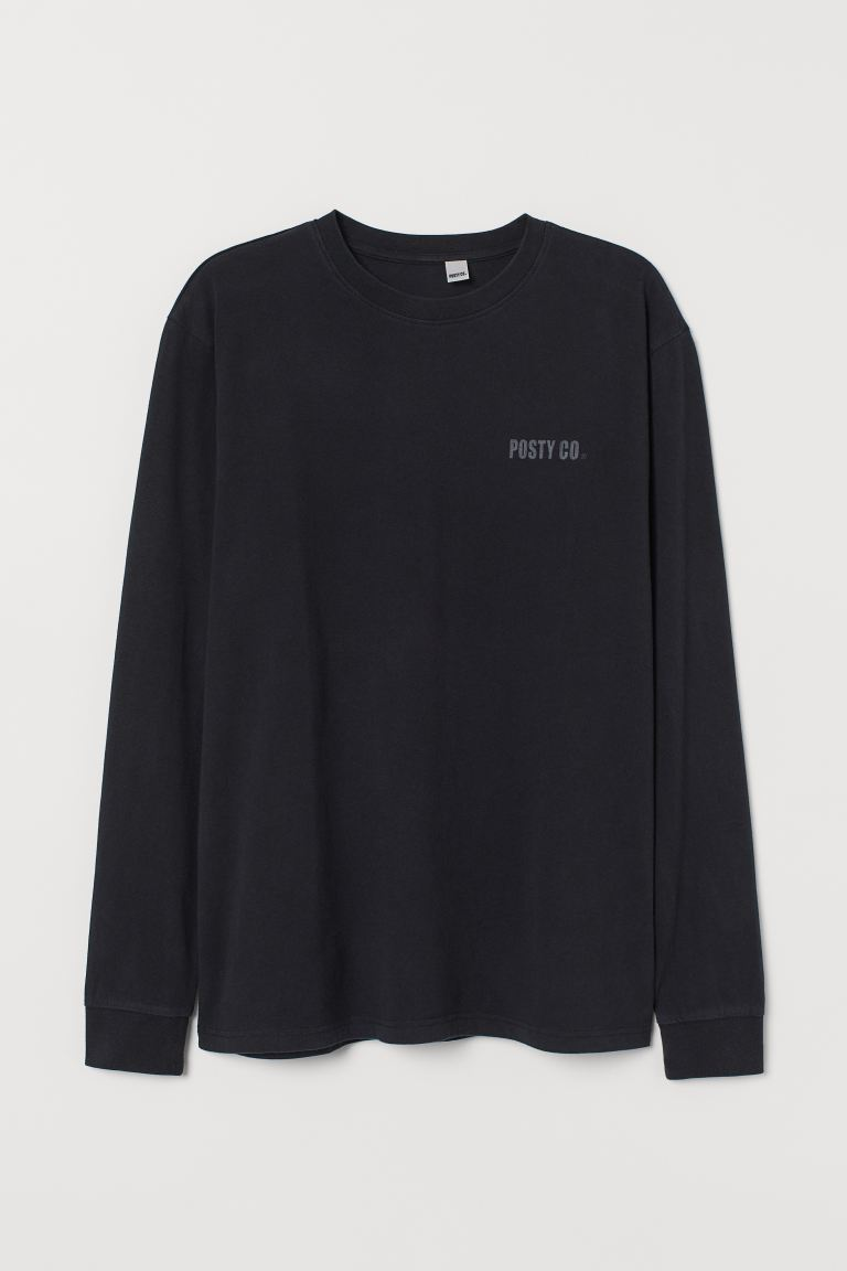 Printed jersey top - Black/Post Malone - Men | H&M