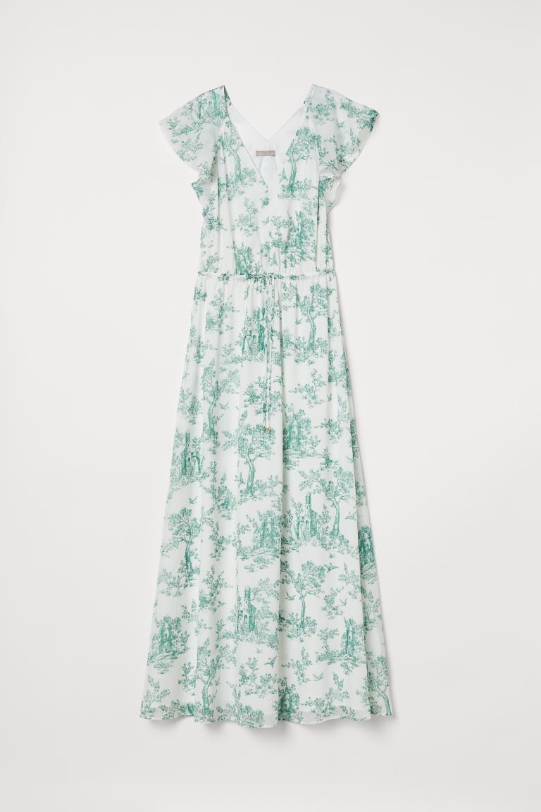 Long butterfly-sleeved dress - White/Green patterned - Ladies | H&M GB