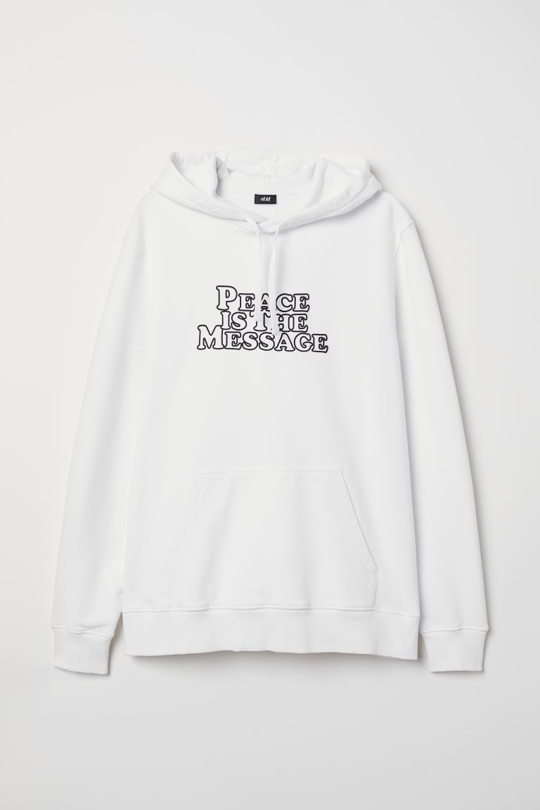 Text-print hooded top - White - Men | H&M IN