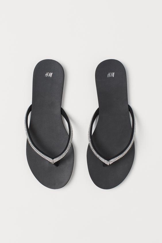 Rhinestone Flip-flops - Black - Ladies | H&M US 2
