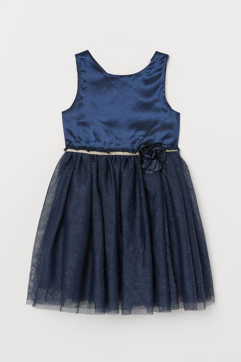 Dress with Tulle Skirt - Dark blue - Kids | H&M US