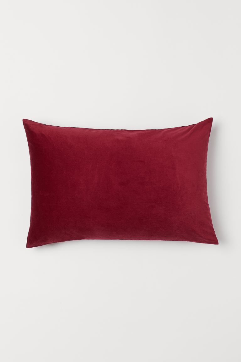 Cotton velvet cushion cover - Dark red - Home All | H&M IE