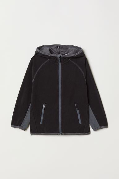 Fleece jacket with a hood - Dark grey/Light grey - Kids | H&M GB