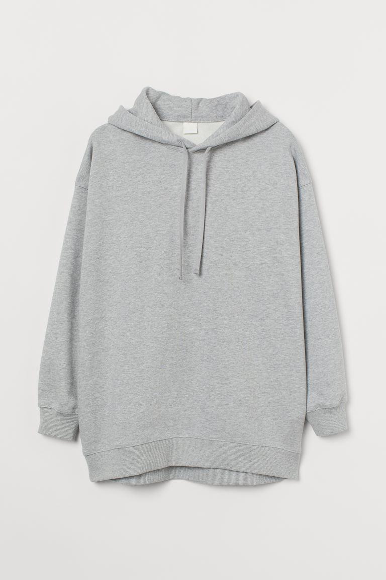 Oversized cotton hoodie - Grey marl - Ladies | H&M GB