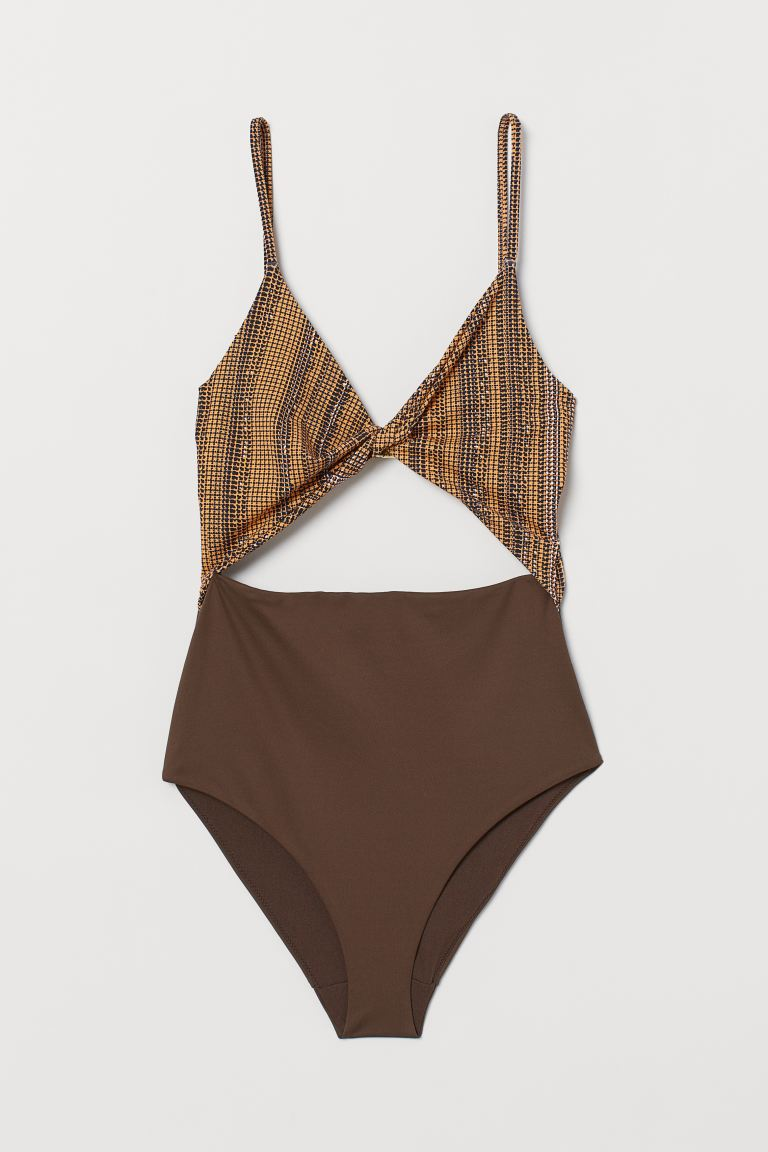 Cut-out Swimsuit - Brown/patterned - Ladies | H&M US