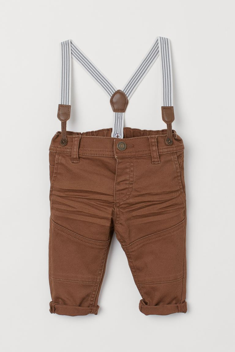 Twill trousers with braces - Brown - Kids | H&M