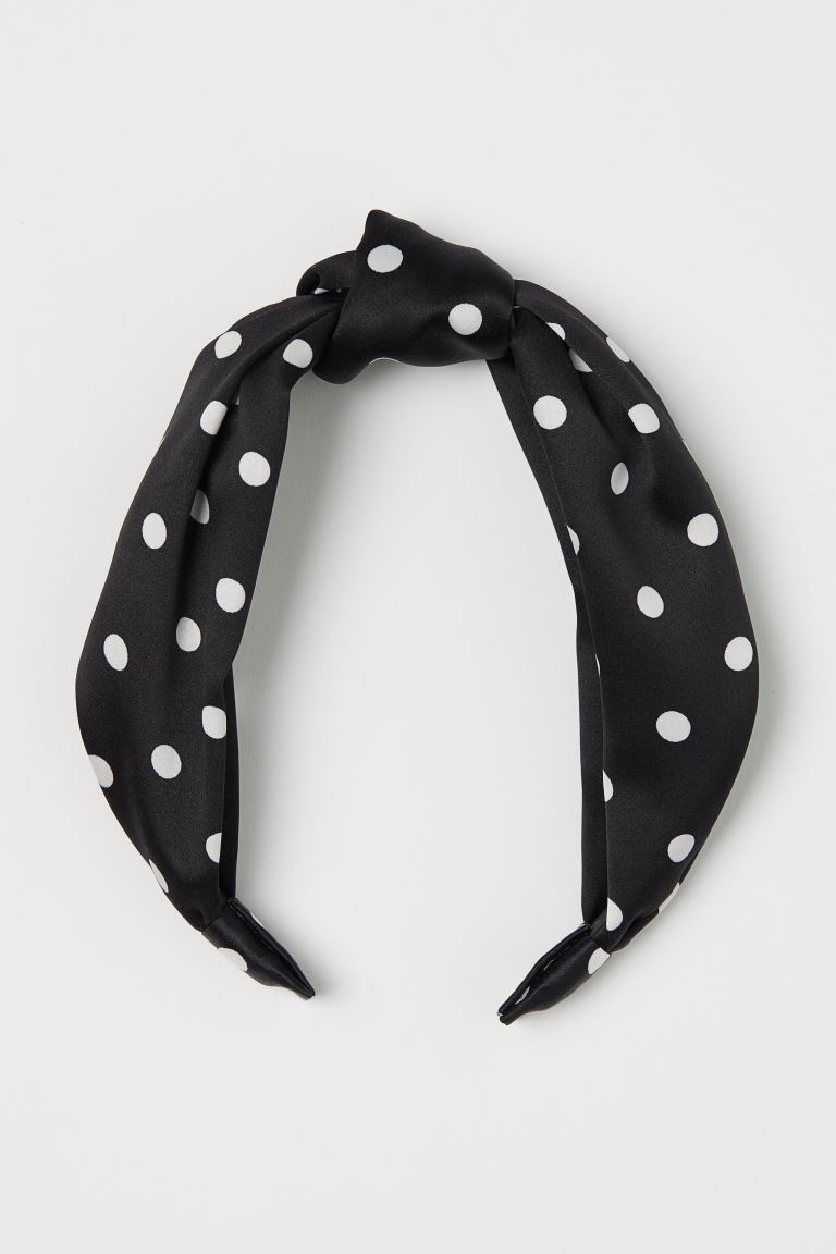 Alice band with a knot - Black/White spotted - Ladies | H&M GB