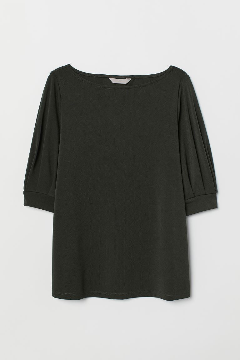 Jersey crêpe top - Dark green - Ladies | H&M GB