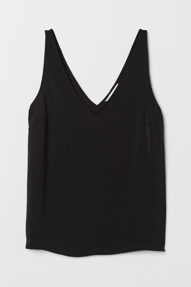 V-neck satin vest top - Black - Ladies | H&M