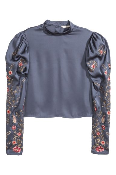 Satin blouse with embroidery - Dark grey - Ladies | H&M GB