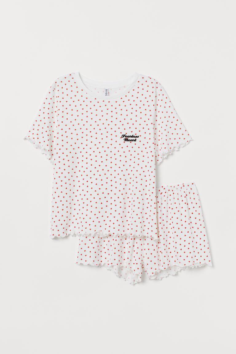 Pyjama top and shorts - White/Hearts - Ladies | H&M GB