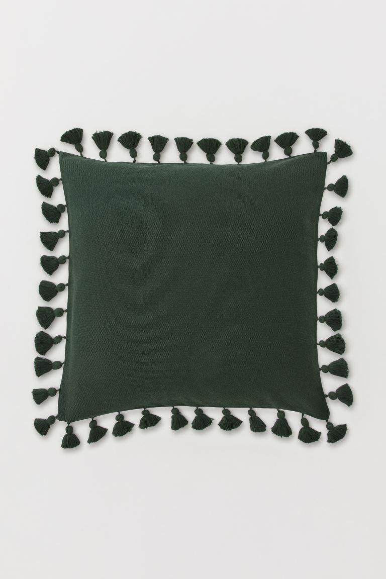 Cushion cover with tassels - Dark green - Home All | H&M GB