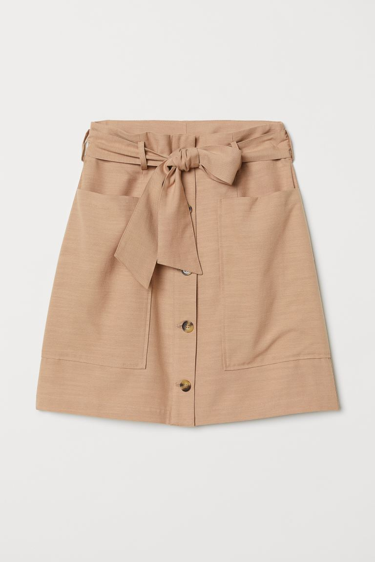 Lyocell-blend Utility Skirt - Beige - Ladies | H&M US
