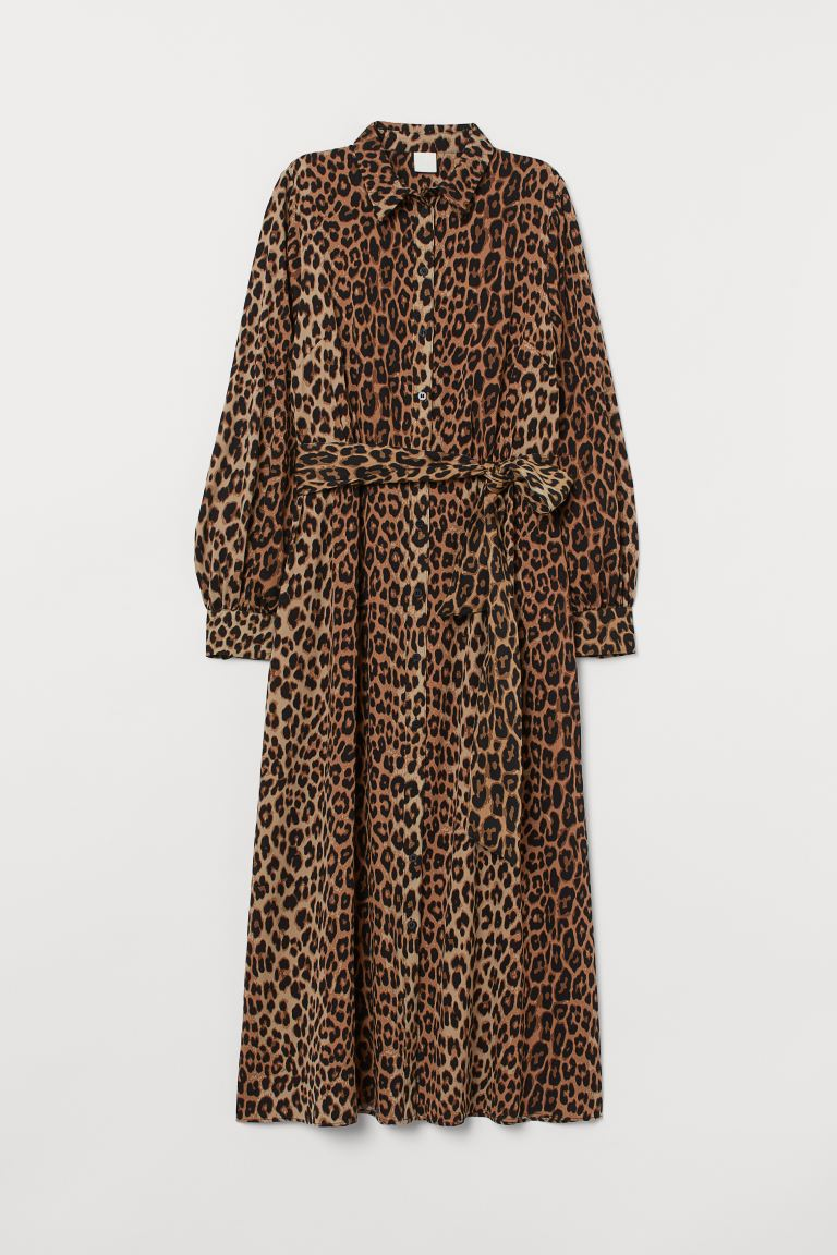 Shirt dress with a tie belt - Dark beige/Leopard print - Ladies | H&M