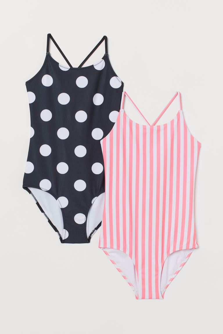 2-pack swimsuits - Pink/Spotted - Kids | H&M
