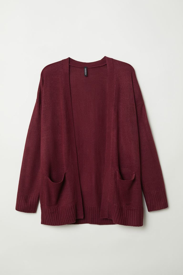 Knitted cardigan - Burgundy - Ladies | H&M IE