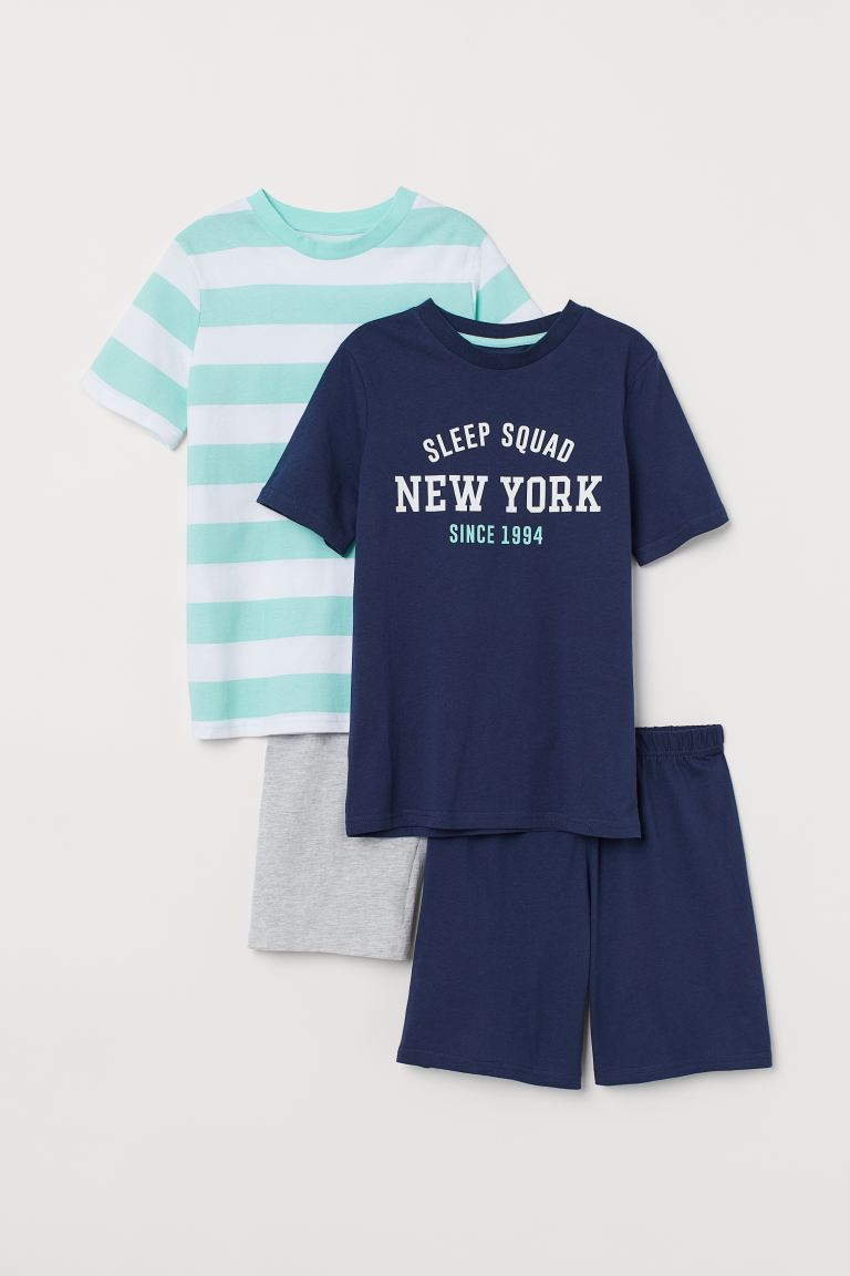 2-pack jersey pyjamas - Dark blue/Green striped -  | H&M