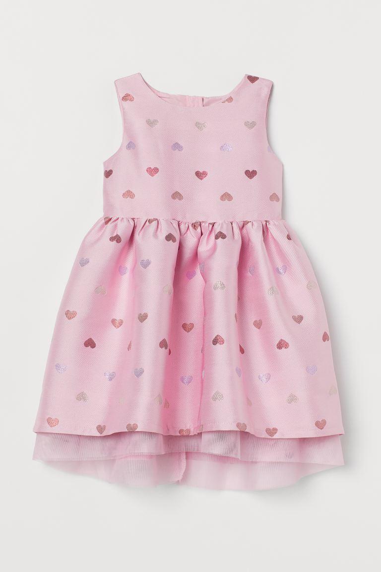 Tulle-detail brocade dress - Pink/Hearts - Kids   H&M GB