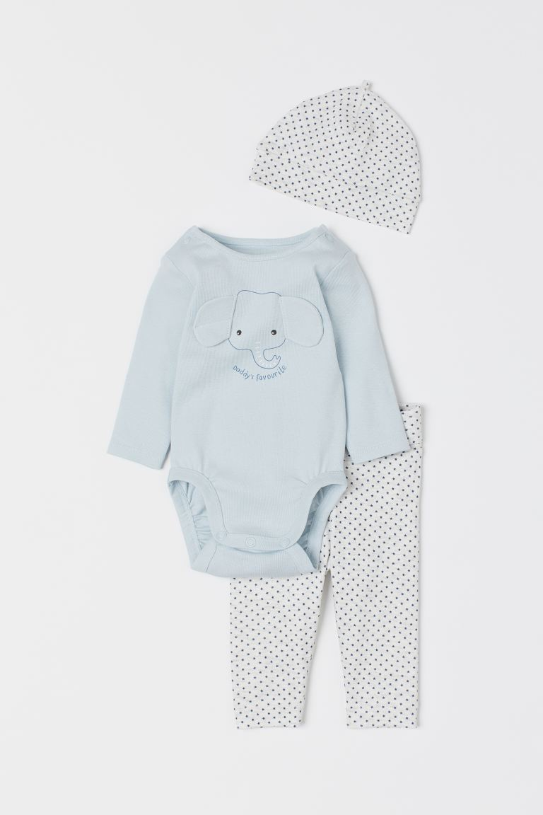 3-piece Cotton Jersey Set - Light blue/elephant - Kids | H&M US