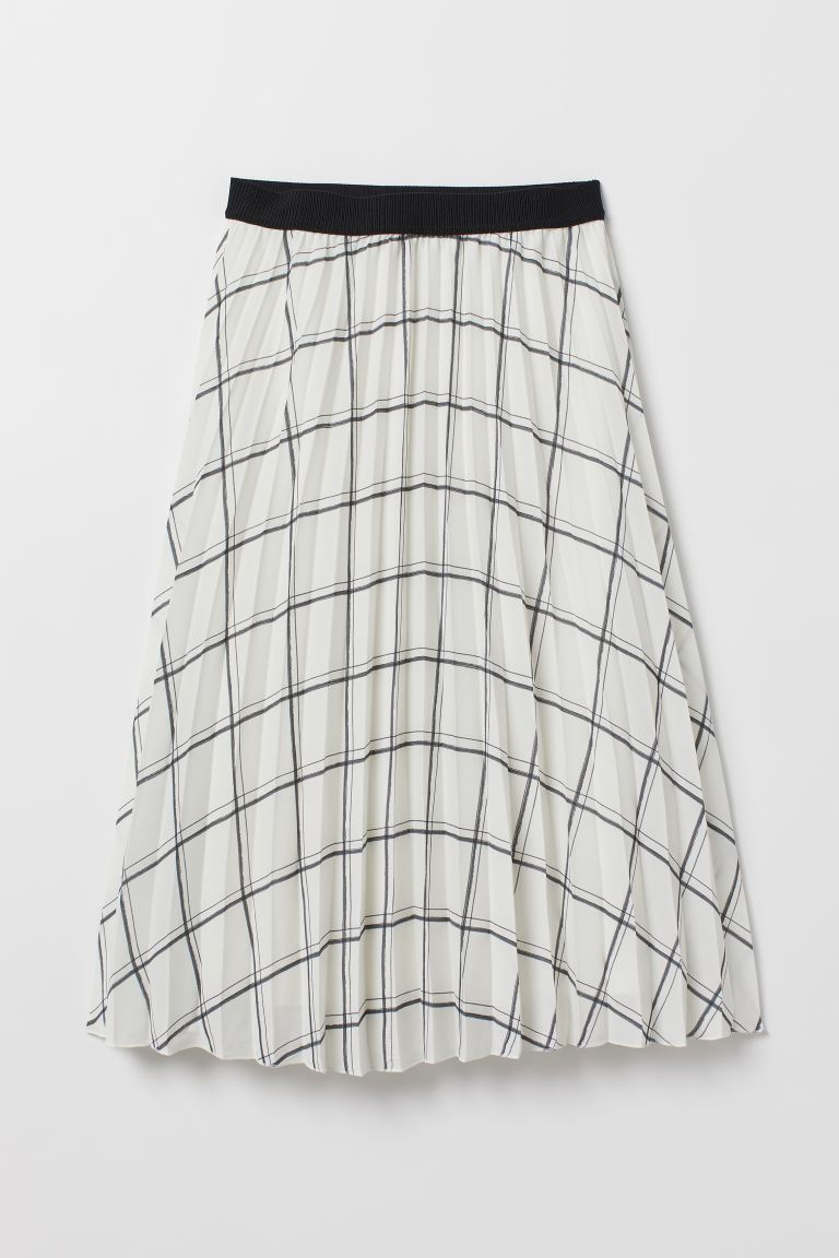 Pleated Skirt - White/checked - Ladies | H&M US