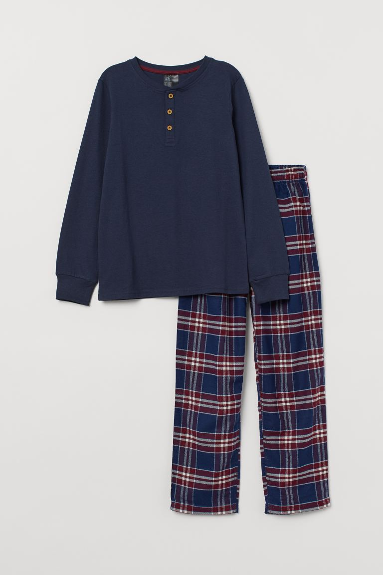 Pyjamas - Dark blue/Red checked - Kids | H&M