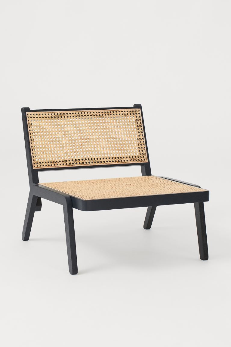Low lounge chair - Black/Rattan -  | H&M GB