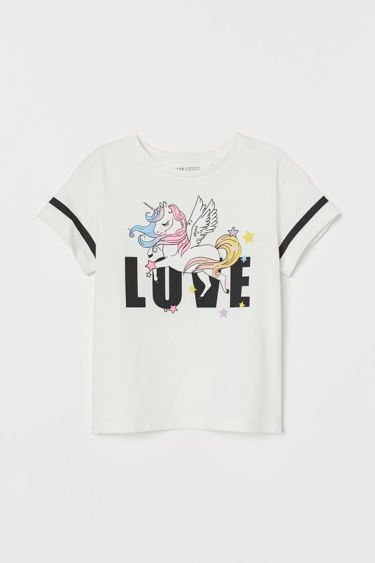 Printed jersey top - White/Unicorn - Kids | H&M GB
