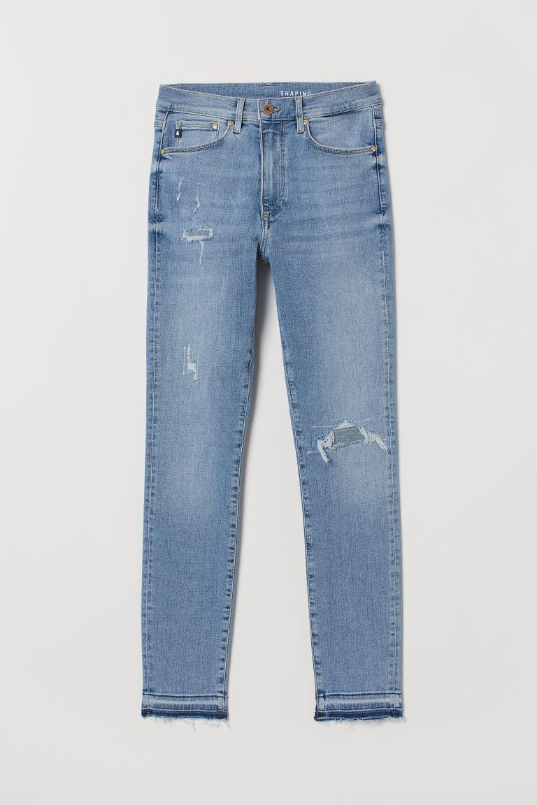 Shaping High Ankle Jeans - Light denim blue/Trashed - Ladies | H&M IN