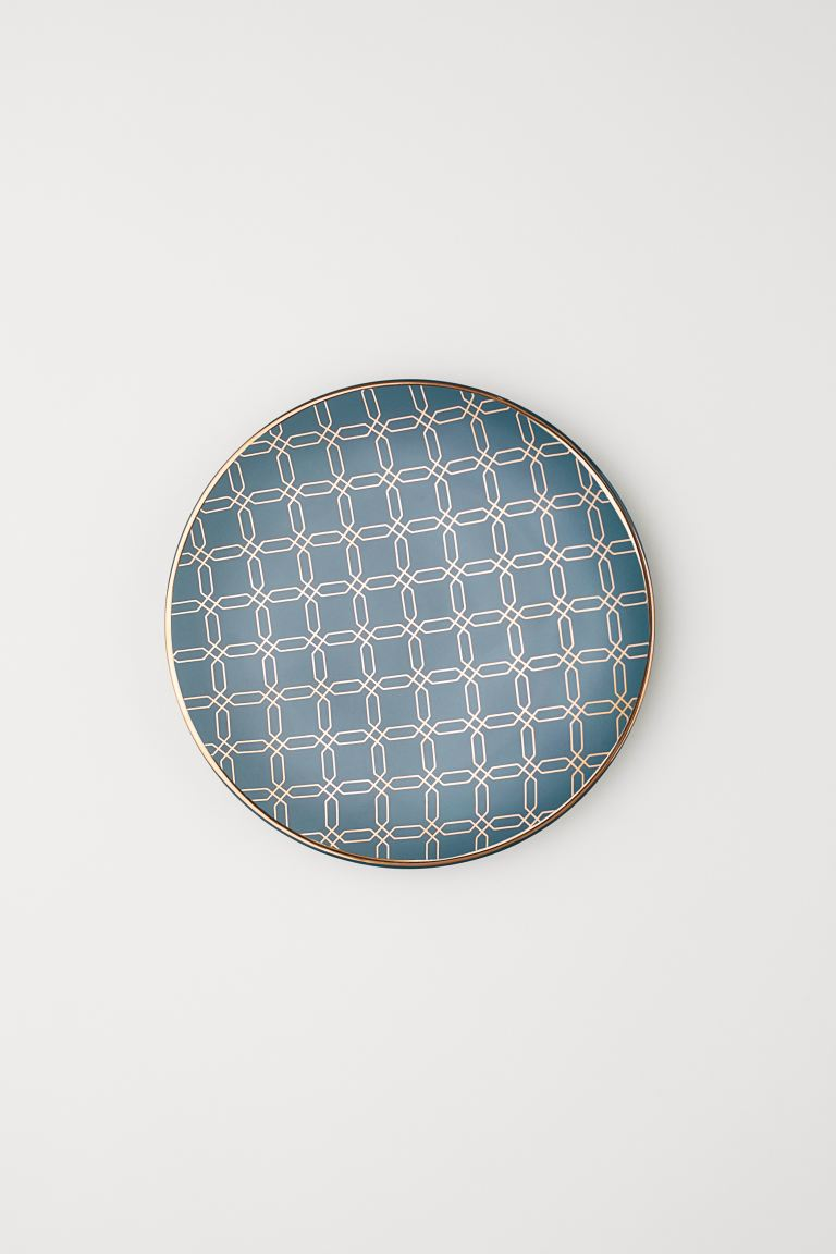 Patterned Plate - Dark teal - Home All | H&M US
