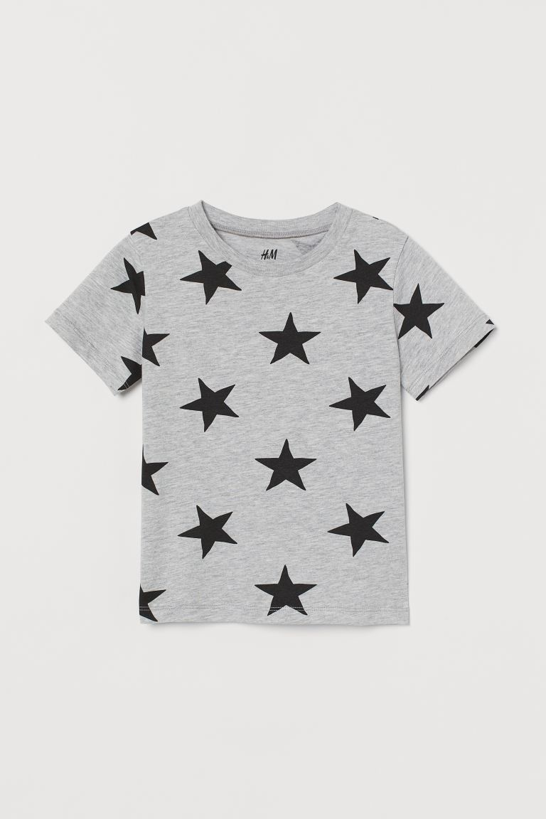 Patterned T-shirt - Light grey marl/Stars - Kids | H&M GB