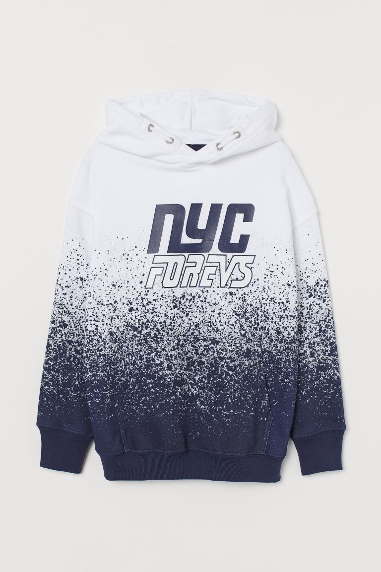 Hooded top - White/Speckled - Kids | H&M GB
