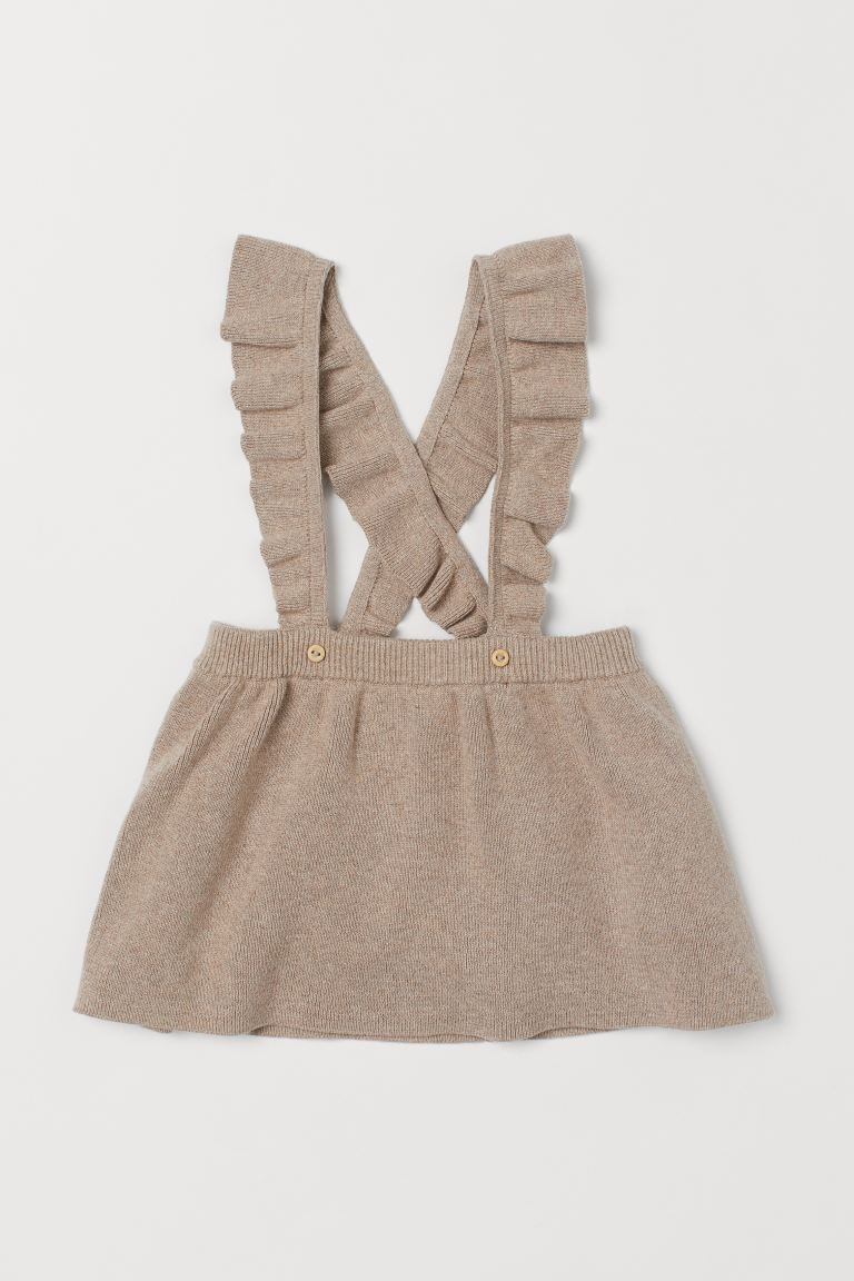 Fine-knit skirt with straps - Light beige marl -  | H&M