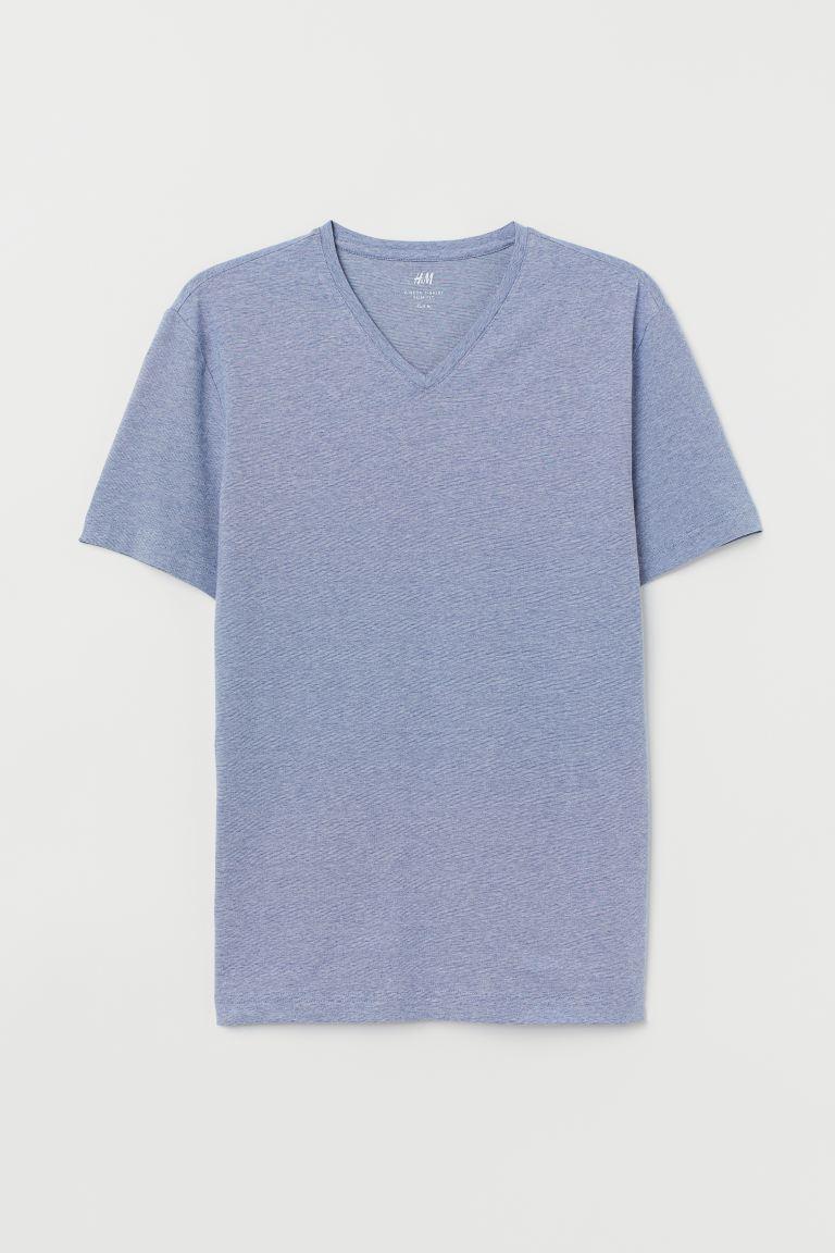 V-neck T-shirt Slim Fit - Light blue/Narrow-striped - Men | H&M GB