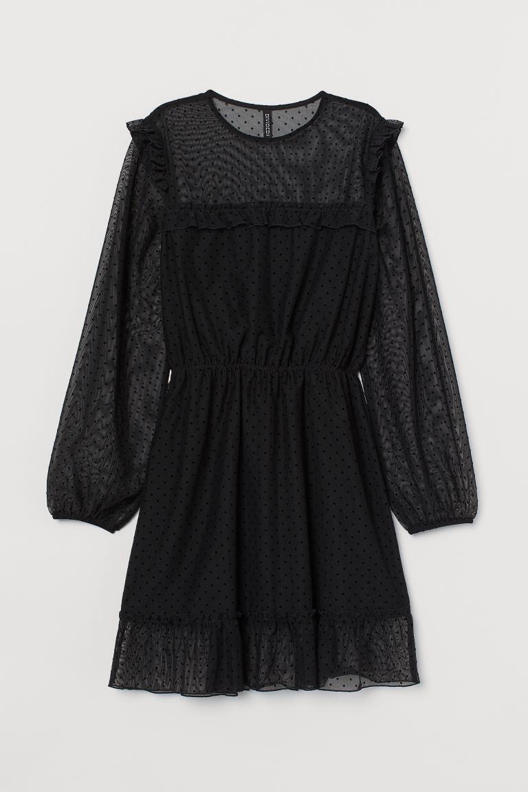 Flounced mesh dress
