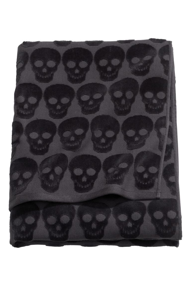 Bath towel - Black/Skulls - Home All | H&M GB