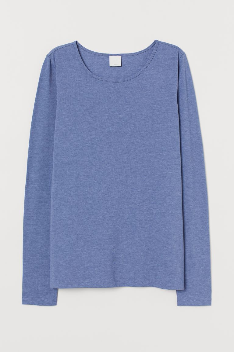 Long-sleeved jersey top - Light blue marl - Ladies | H&M