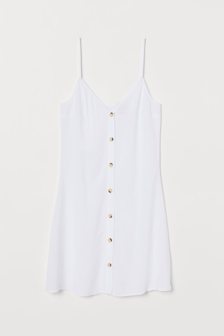 Dress with Buttons - White - Ladies | H&M CA