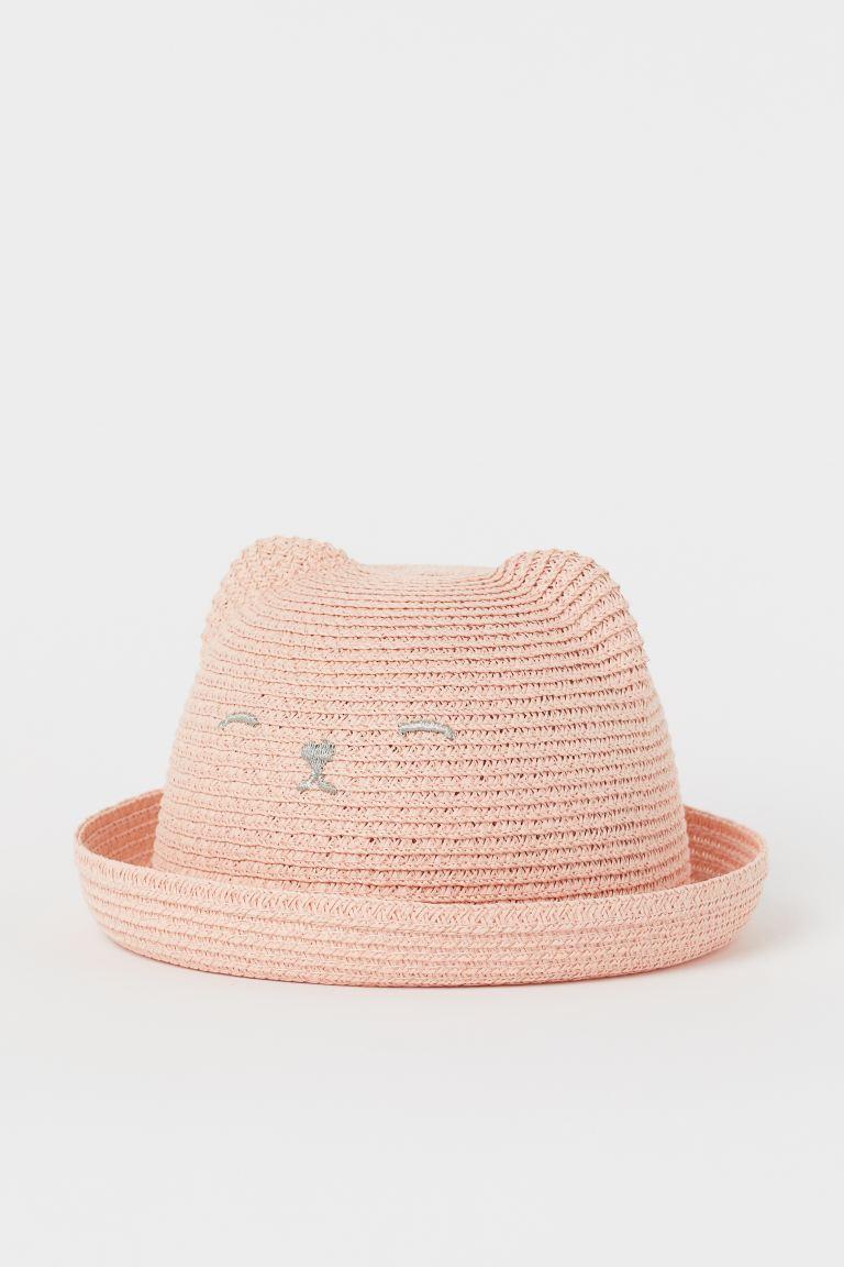Straw hat with ears - Powder pink - Kids | H&M GB