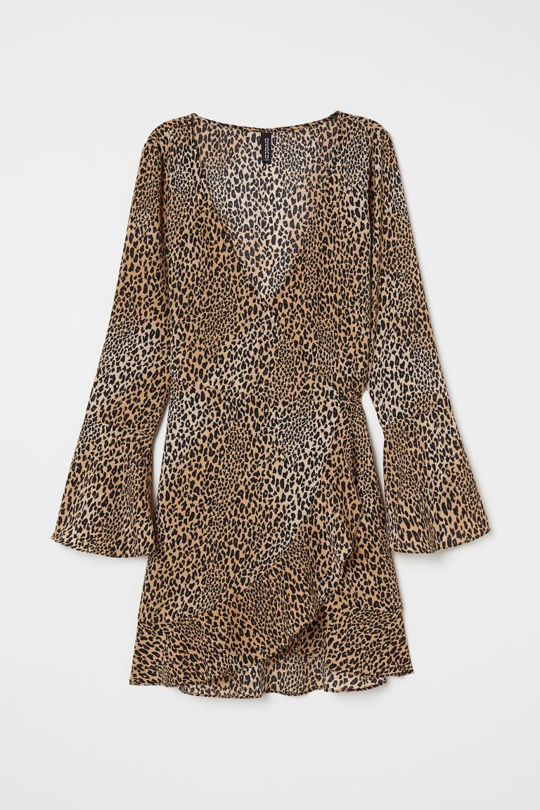 Crêpe wrap dress - Beige/Leopard print - Ladies | H&M IE