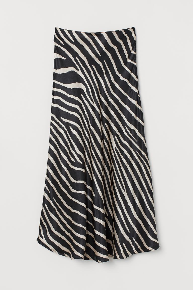 Flared Satin Skirt - Black/zebra print - Ladies | H&M US
