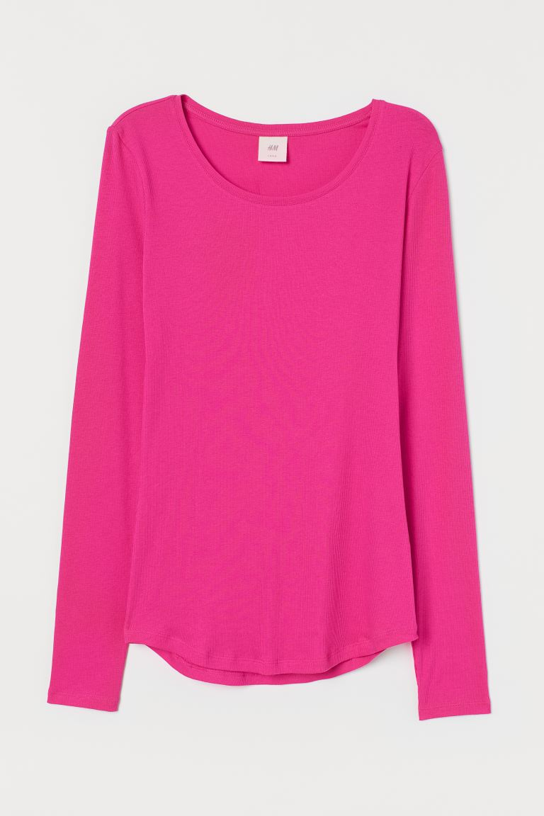 Long-sleeved jersey top - Cerise - Ladies | H&M