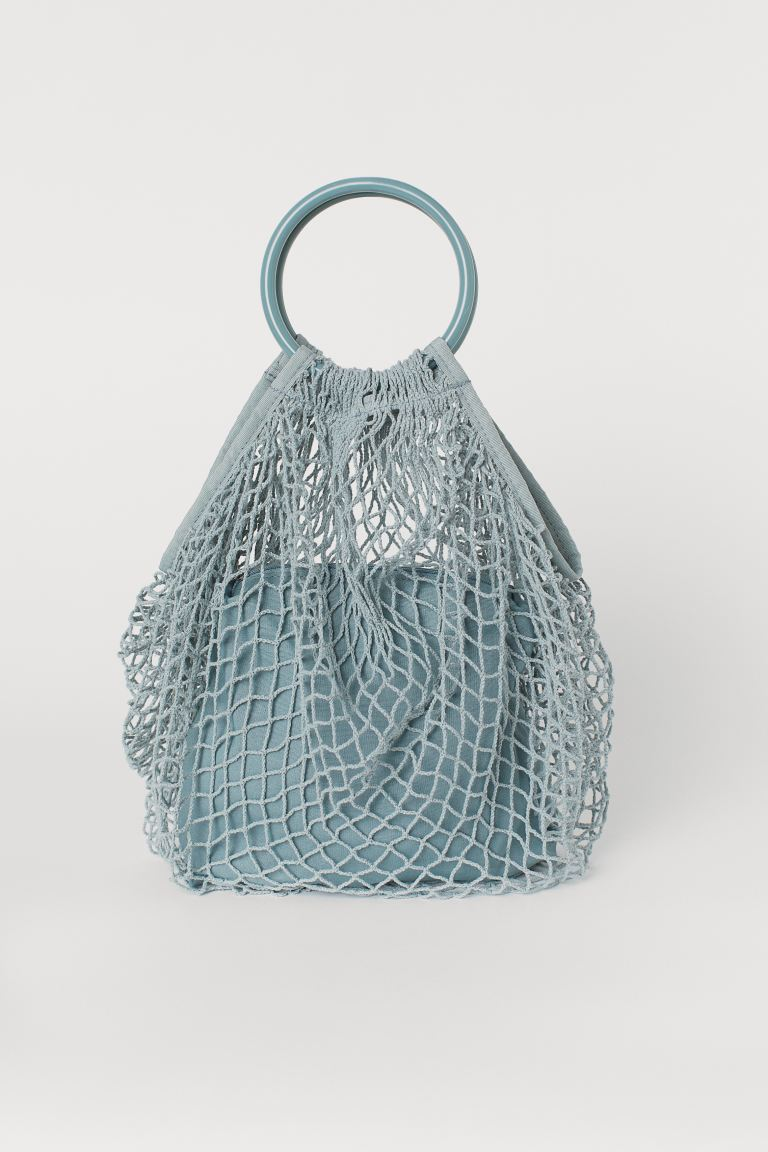 Cotton mesh shopper - Turquoise -  | H&M GB