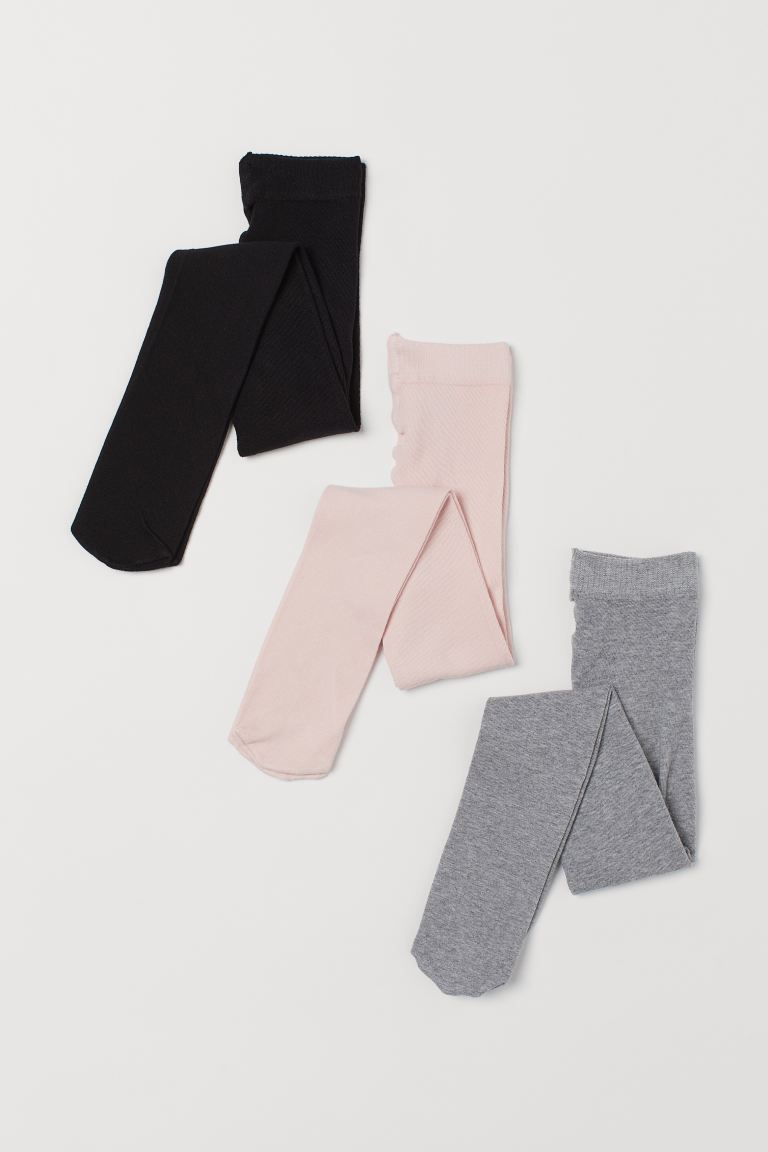 Collants, lot de 3 - Rose clair/gris/noir - ENFANT | H&M CH