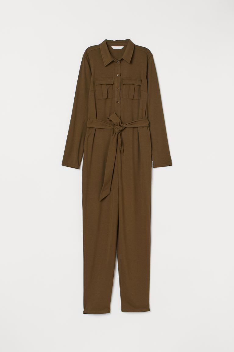 MAMA Tricot jumpsuit - Donker kakigroen - DAMES | H&M NL