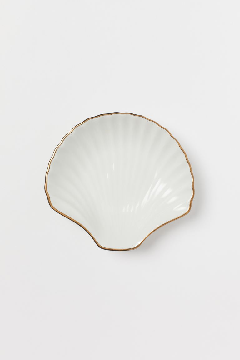 Shell-shaped mini dish - White/Gold-coloured - Home All | H&M GB